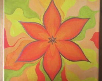 Original Unique Hand Embellished Print 'Sacral Flower'