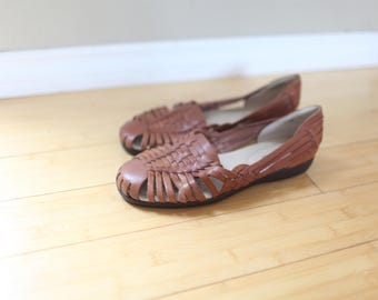 vintage woven brown leather hurache sandals womens 12