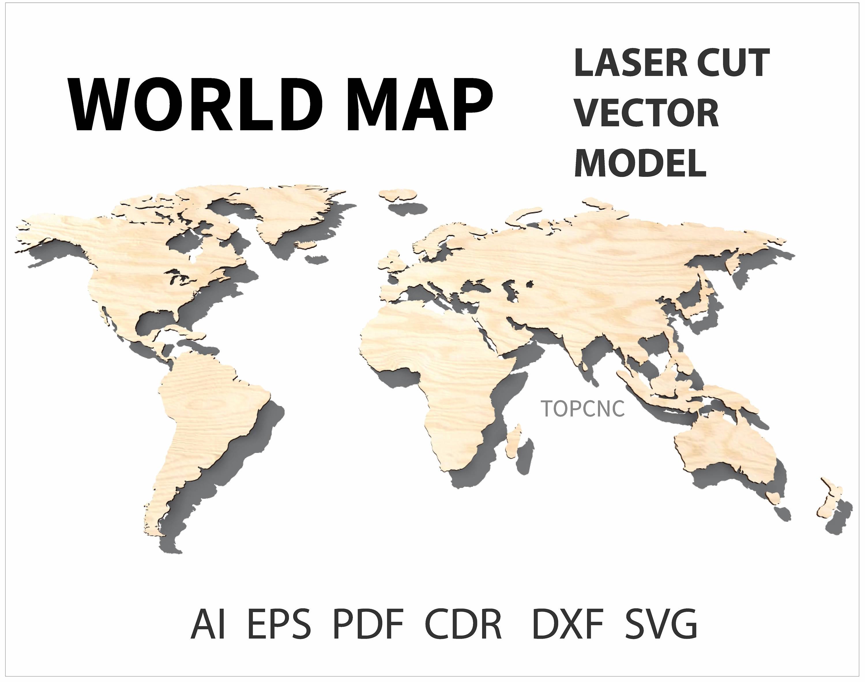 World map laser cut file world map vector digital download svg esto es un archivo digital gumiabroncs Image collections