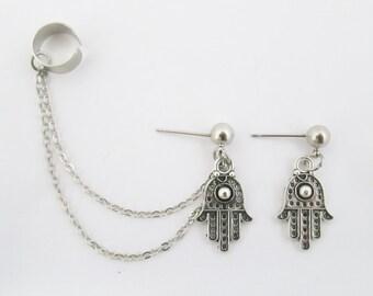 Ear cuff chain with hamsa stud earrings