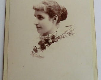 Victorian Cabinet Card Pretty Woman Side Profile Rose Stem Victorian Bun Hairstyle