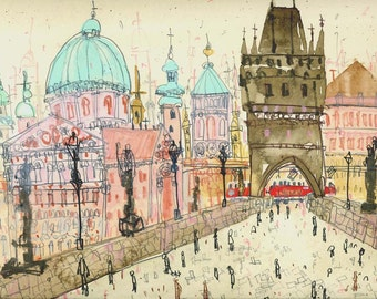 Prague Art Print, Charles Bridge Czech Republic, Watercolor Painting, Vltava River, Limited Edition Giclee, Architecture, ClareCaulfield