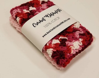 Sweet Candy Kisses Crochet Kitchen Dishcloth, Crochet Mini Cloths, Mini Dishcloths, Ready to Ship
