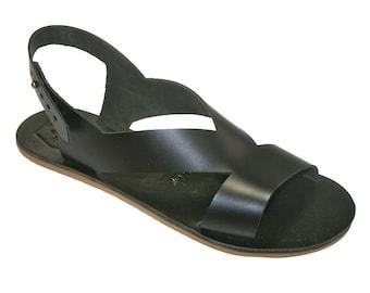 Black Perfor Leather Sandals for Women & Men - Handmade by WalkaholicS