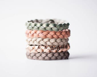 Braided Leather Bracelet Set / Copper Neutrals