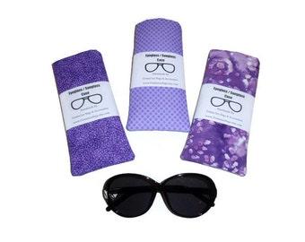 Purple Fabric Sunglass / Eyeglass Case, Padded Sunglass / Eyeglass Storage Holder, Gift For Women, Handmade By DonnaLeeBags