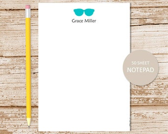 personalized sunglasses notepad . sunglasses note pad . personalized stationery . stationary . silhouette . color choices