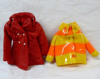 Francie Barbie Doll 1965 Clam Diggers Coat and Red Crinkled Faux Leather Coat