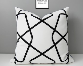 Black & White Outdoor Pillow Cover, Modern Geometric Pillow Cover, Decorative Throw Pillow Cover, Lattice Sunbrella Outdoor Cushion Cover