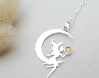 Fairy necklace,sterling silver necklace,925 silver necklace,citrine necklace,moon necklace,sterling silver,fairy,silver fairy,citrine,moon