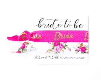 YOU DESIGN Bridal Hair Tie Favor | Bride Hair Tie Gift, Pink + Gold Floral Rose Bride Bridal Wedding Shower Bachelorette Party Hair Tie Gift
