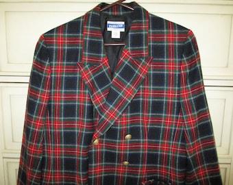 SALE - Pendleton Wool Plaid Blazer Jacket, Ladies, Size 12, Label, Lined