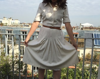 Sam - Dress 50's cream colored - collar blouse and pleated skirt - size 38/M
