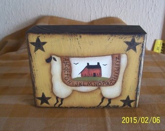Primitive Sheep Wood Shelf Sitter Block Home Decor Decoration