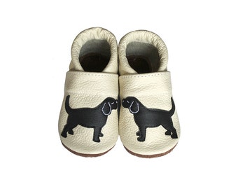 Leather Baby Booties, Dog Baby Shoes,  Infant Newborn Nursery Children Beige Black Puppy