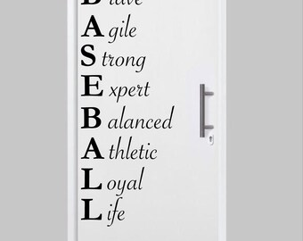 Baseball Acrostic Wall Decal - Baseball decor, baseball wall decal, baseball decals, kids room decor, door decals, sports wall decals