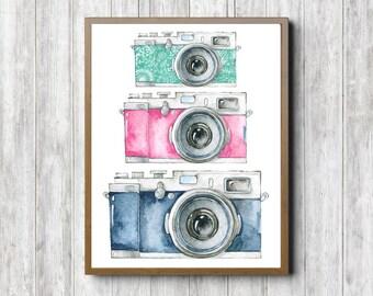 Watercolor Camera Wall Art - Photography Art Poster - Photographer Gift - Photography Studio Print - 8 x 10 - Pink & Green Wall Decor