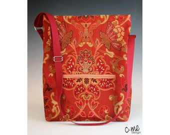 Jacobean floral tote bag in rust