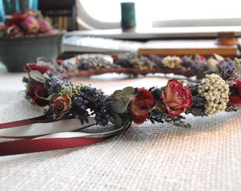 Flower Crown of Lavender and Rosebuds Dried Flowers for Little Flower Girls and Wedding Babies
