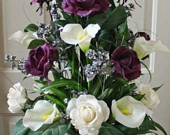 Plum/purple/silver, floral arrangement/centerpiece, Real Touch flowers, silk, wedding, altar, home decor, rose/roses, calla Lily/lilies