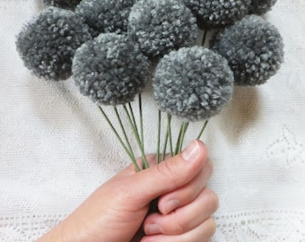 Heather Grey Yarn Pom Pom Flowers: Set of 12