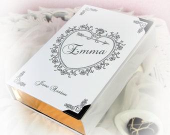 "Romantic Book Clutch ""EMMA"" Jane Austen (customizable)"