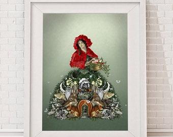 Red Riding Hood Ltd Edition Giclee Print - Into the Woods Fairy tale print dark fairytale art print fairytale decor fairytale nursery decor