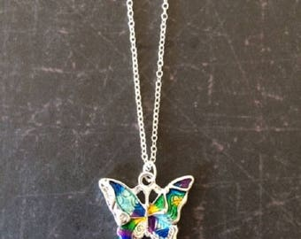 Butterfly Necklace - Butterfly - Butterfly Jewelry - Butterfly Necklace Silver - Colorful Butterflies - Butterfly Gift - Nature Lover Gift