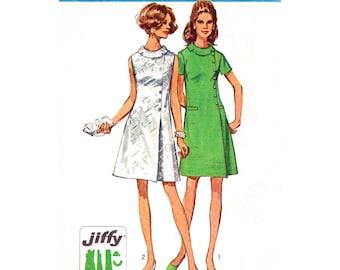 60er Jahre Kleid Muster Einfachheit 8541 Faux Wrap Kleid schräg Rolle Kragen Knopf Trim Womens Büste 34 Schnittmuster