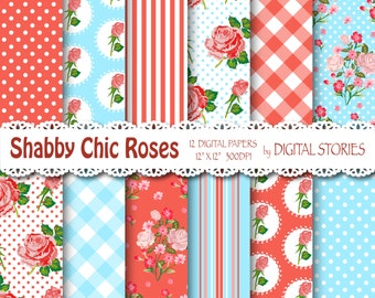 "Shabby Chic Digital Paper: ""SHABBY RED BLUE"" Floral background with roses for scrapbooking, invites, cards"