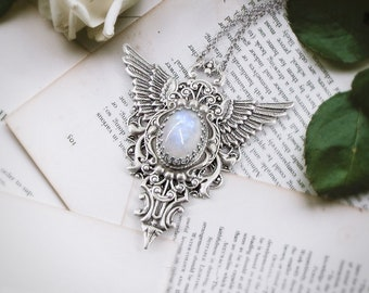 Swift Flight - Moonstone Necklace, Silver Angel Wing Necklace, Gift for men, Gift for women, Statement Necklace, Rainbow Moonstone, Moonsong