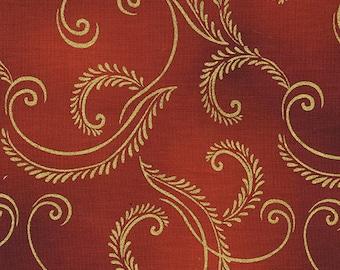 Autumn Splendor Metalic Gold Scroll Fabric 8419M Kanvas