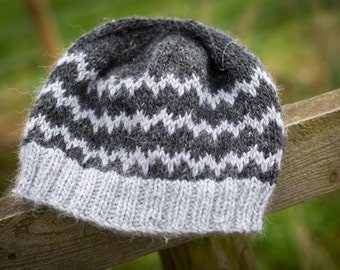Hand Knit Adult Fitted Beanie Hat - Luxury Alpaca/Wool/Linen - Charcoal, Silver; READY TO SHIP