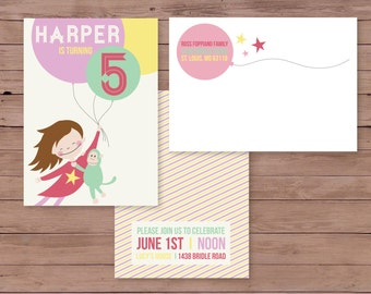 5X7 custom children's birthday invitation features child flying high with balloons