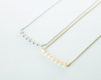 Gold and Silver Tiny Stitch Charm Necklace . Fence Necklace Bridesmaid Gift . Dainty and Delicate Necklace Birthday Gift