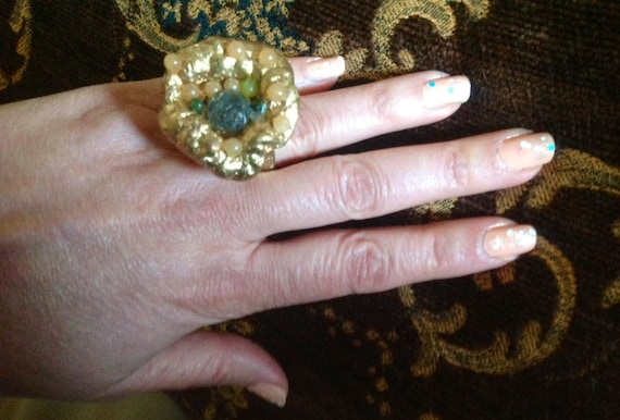 RING Gem  Artistic wearable art gold leave glided  in 22 k with multiple gem stones