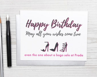 Funny Birthday Card, Funny Birthday Card for Her, Friend Birthday Card, Girlfriend Birthday Card, Shoe Card, Charity Card, Women Funny Card