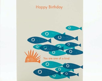 A2-98 Fish Birthday, You Are One of a Kind --  Note Card