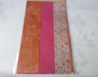 13 mixed x large sheets paper decopatch Brown flower/plain pattern, fuchsia