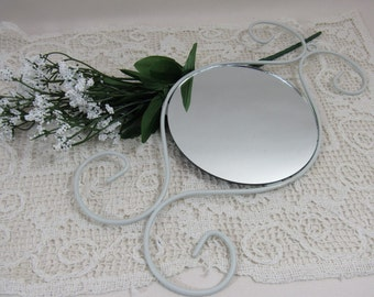 Vintage Shabby Chic White Metal Hanging Mirror