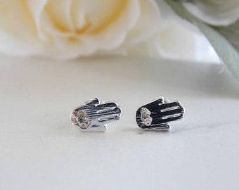 Silver Hamsa Earrings. Tiny Hamsa, Evil Eye, Lucky Earrings