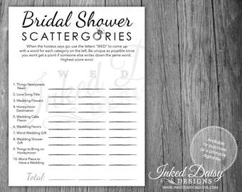 INSTANT DOWNLOAD Bling Shower Game, Bridal Shower Scattergories, Scattergories, Wedding Game, Digital Download