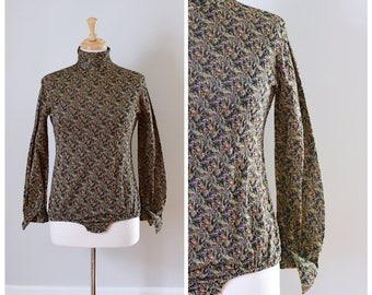 Vintage Shirt / Vintage 70s Shirt / Bodysuit / 70s Bodysuit / Metallic Bodysuit / Disco Top / Vintage Turtleneck / Knit Top / Size Small