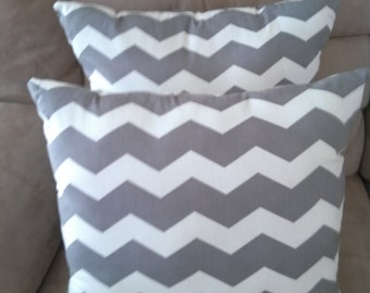 Two Dark Gray and White Chevron Pillows Couch and Bed Pillows Throw Pillows Zig Zag Pillows Decorative Pillows Home Decor