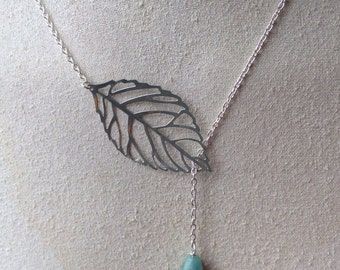 Silver Leaf and Amazonite Drop Necklace
