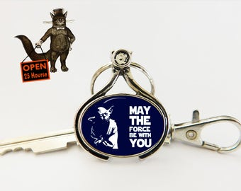 Star wars Yoda Keychain, May the force be with you, Star wars accessory, Star wars jewelry, Men's Jewelry, Keychain for Him Her