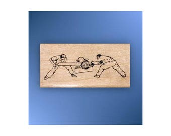 CROSSCUT SAWYERS mounted Lumberjack rubber stamp, timber sports, log sawing, saw, Sweet Grass Stamps #14