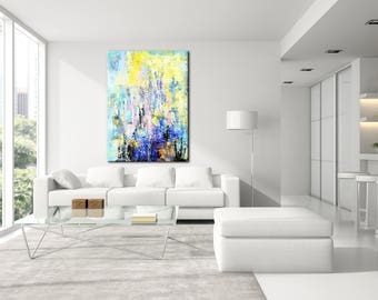 Living Room Art, Large Abstract Art, Abstract Canvas, Textured Painting,  Colorful Large