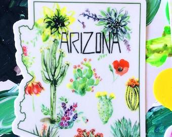 Arizona Botanical Desert Cactus Succulent Watercolor Vinyl Sticker