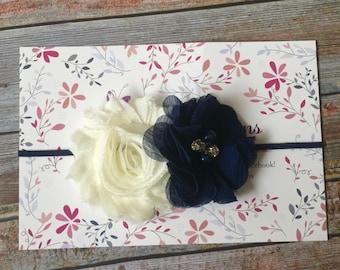 Navy & Ivory Headband, Baby Headband, Newborn Headband, Girl Headband, Baby Girl Headband, Infant Headband, Navy Blue and Ivory, Headband